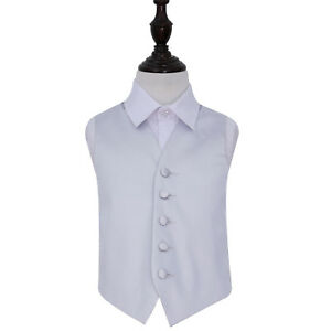 DQT-Satin-Plain-Solid-Silver-Page-Boys-Wedding-Waistcoat-2-14-Years