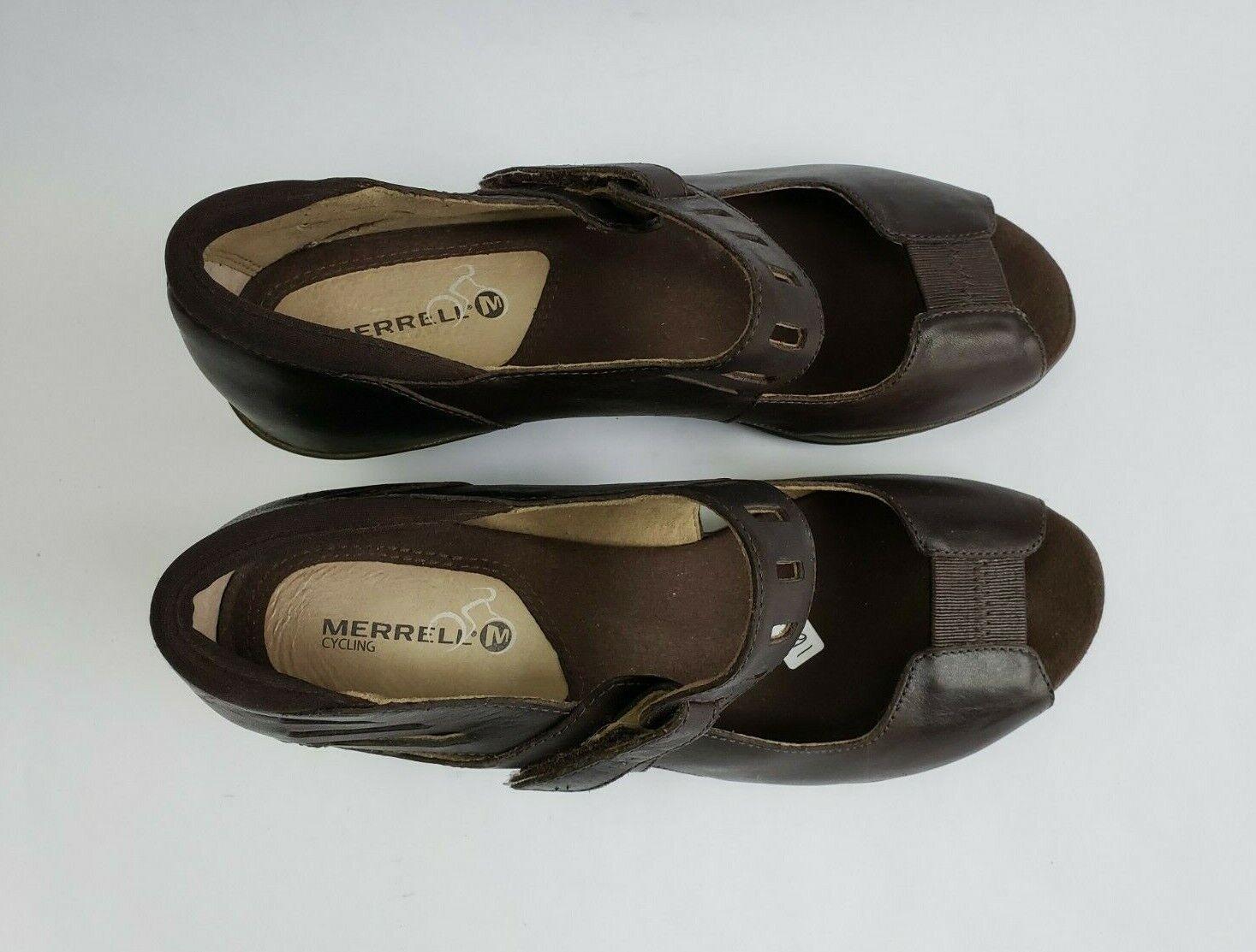 Merrell schuhe braun braun braun Heels Peep Toe Mary Jane Cut Out damen Größe US 8 EU 39 26762d
