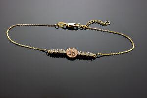 170d769f2830 Details about Multi-Tone 14k Gold Sweet 15 - XV Años CZ Quinceañera  Pulsera Bracelet