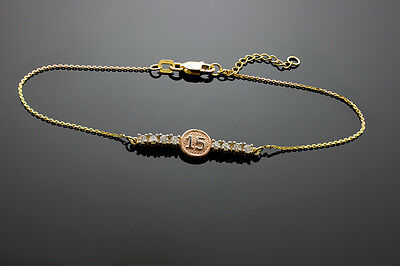 Multi-Tone 14k Gold Sweet 15 - XV Años CZ Quinceañera Pulsera Bracelet