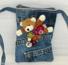 NEW HAND MADE BLUE DENIM JEAN+3D BEAR+MULTI COLOR FLOWER CROSSBODY,HAND BAG