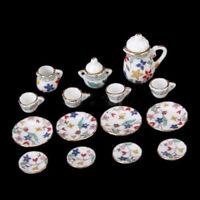 15pcs Floral Porcelain Dollhouse Miniature Coffee Tea pot lid dish Cups Set 1/12