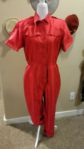 1980s Killer Red Silk Jumpsuit