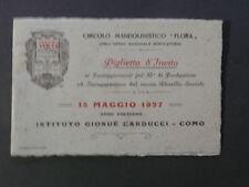 Biglietto Invito Circolo Mandolino Flora Onoranze Flora Como 1927