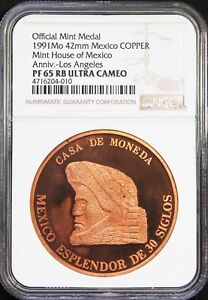 Mexico-1-oz-1991-Copper-Mexican-Mint-Medal-Los-Angeles-NGC-PF65-RB-Ultra-Cameo