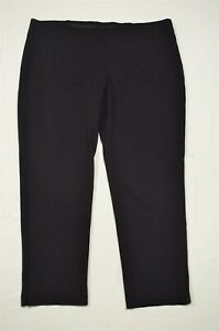 Chico's 4 / 20 Tall Black Ponte Pull On Stretch Skinny Ankle Plus Dress Pants