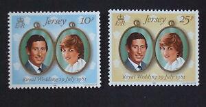 JERSEY-Gomma-integra-non-linguellato-UMM-Stamp-Set-1981-SG-284-285-Matrimonio-Reale-Charles-amp