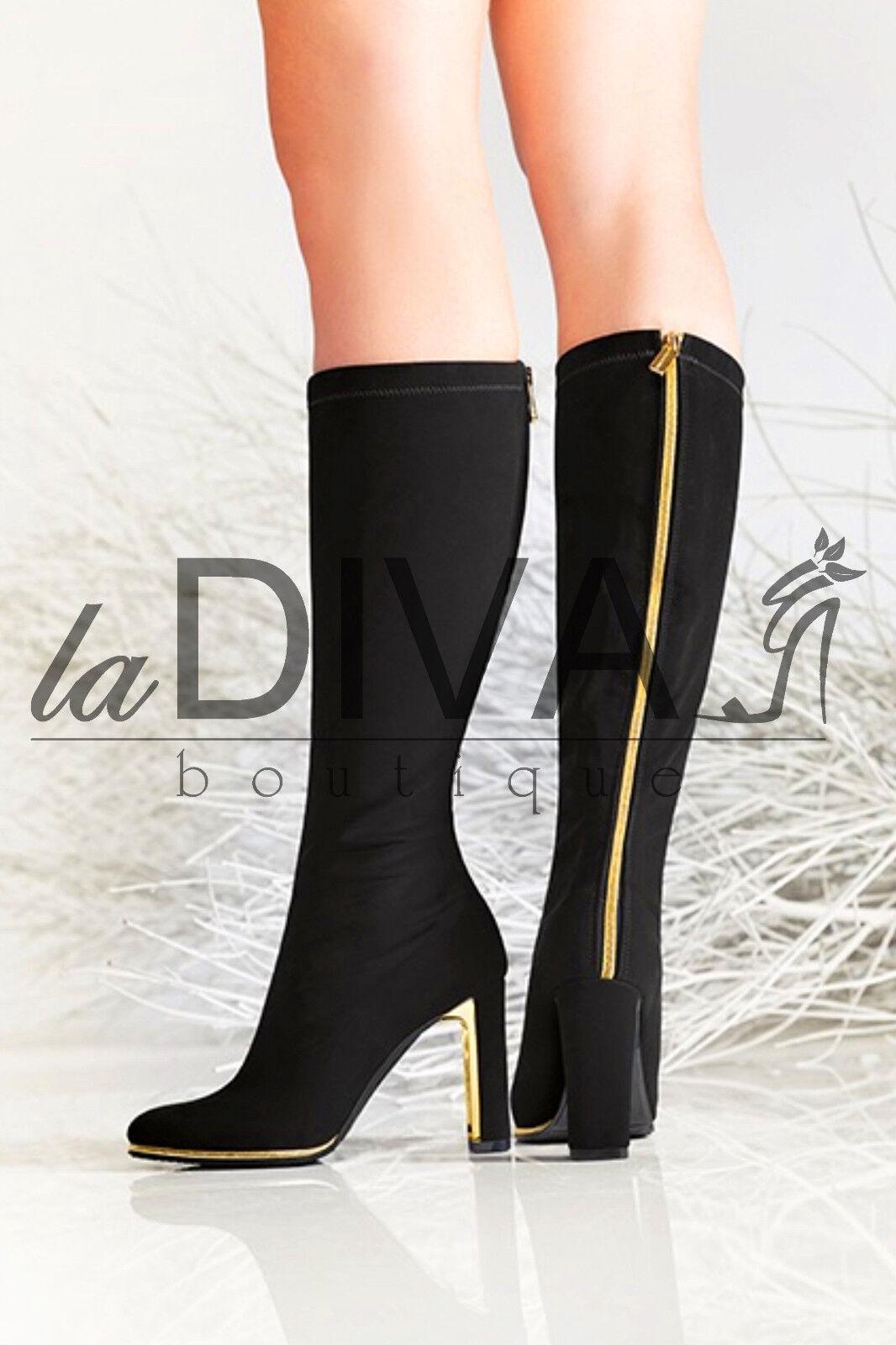 Nila & nila ~ Italy elástico botas 38 negro con cremallera en oro botas de cuero