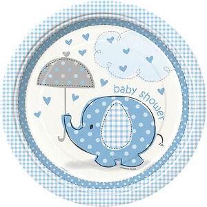azul-elefante-sombrilla-BABY-SHOWER-23cm-platos-de-papel-para-Fiesta-1-48pk