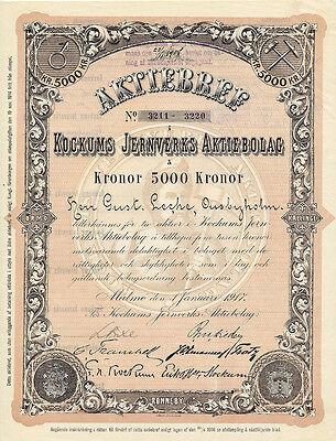 Schweden Servige Kockums Jernverks Aktiebolag Aktie 1917 Bergbau Bergmann deko