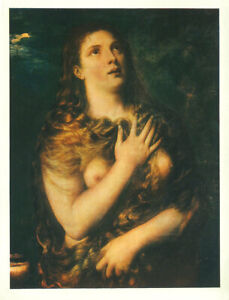 TITIAN-Vintage-c1930s-039-Fotocromo-039-Litho-Penintent-St-Mary-Magdalen-THE-MAGDALENE