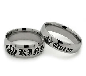 Her King His Queen Titanium Crown Wedding Couple Ring set ...