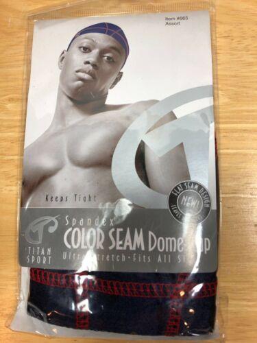Men/'s New Color Seam Titan Sport Spandex Dome Cap Black//red-orange-white-blue