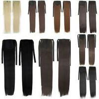 Women Long Straight Curly Ribbon Ponytail Hairpiece Clip in hair Extensions D95