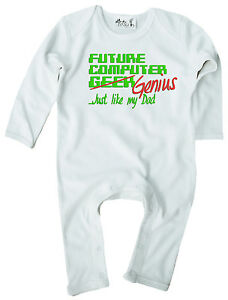 Dirty-Fingers-Baby-Romper-suit-Gift-034-Future-Computer-Geek-Genius-like-Dad-034