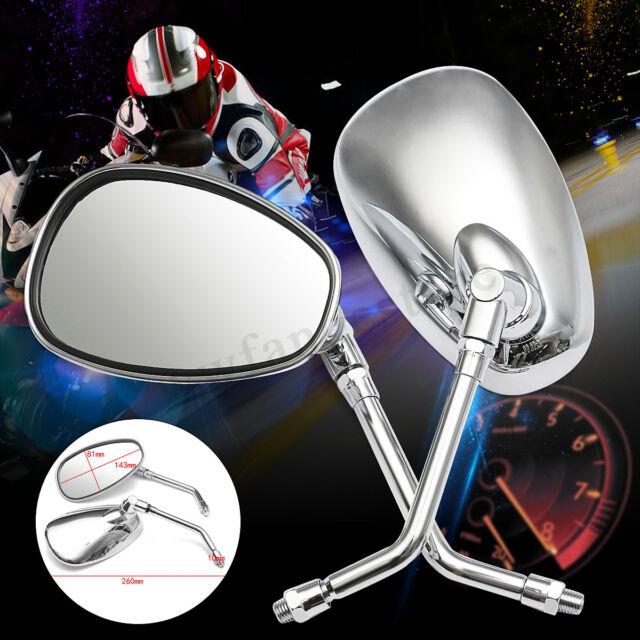 2x Motorcycle Adjustable Rear View Mirrors Chrome 10mm For Honda Kawasaki Suzuki