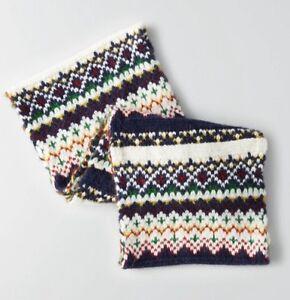 American Eagle Signature Pattern Knit Loop Scarf Cream Multi Ebay