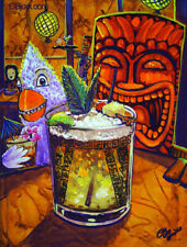 Tiki Hula Drink Server Lounge Luau Art CBjork Hawaiian Tropical Kitsch Print