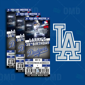 los angeles dodgers ticket style custom sports party invitations ebay