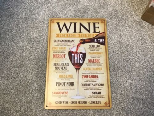 VINTAGE RETRO STYLE METAL TIN SIGN POSTER WINE AROUND THE WORLD CAVE WALL HOME