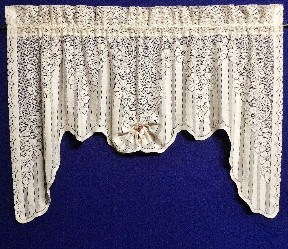 Stunning Stunning Stunning Arabella Ecru Ivory Cotton Blend 62  x 38  Lace Swag 042cb9