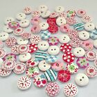 AUE/C 100Pcs 2 Holes Mixed Printing Round Pattern Wood Buttons Scrapbooking 15mm