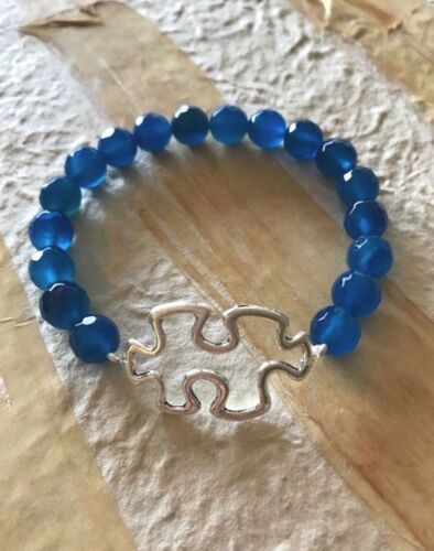 AUTISM SUPPORT BRACELET DENIM BLUE AGATE