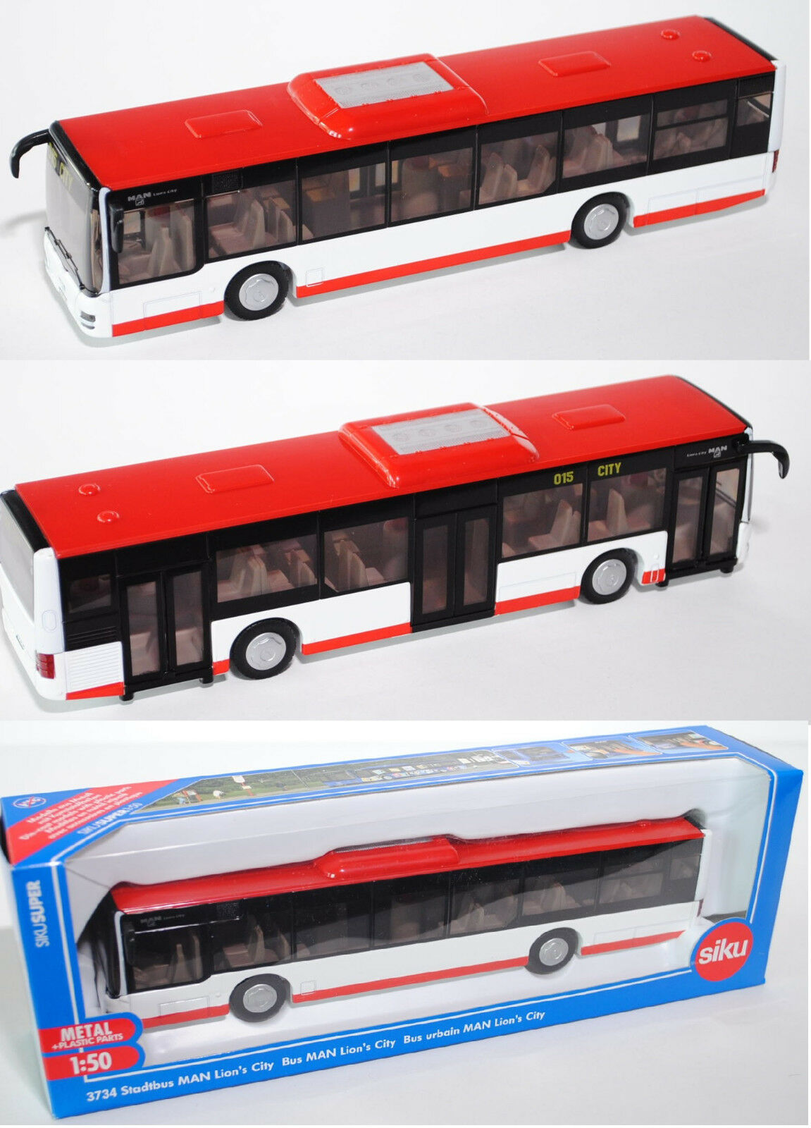 Siku Siku Siku Super 3734 Stadtbus MAN Lion's City Solobus red   white 1 50 4caff0