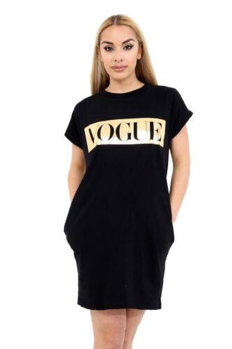 Womens Ladies Baggy VOGUE Slogan Gold Foil Dress Oversize Camouflage Shirt Top