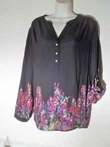 d24afa4018b Sz 2x Investments black floral tunic top blouse womens plus career ...