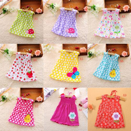 Newborn Baby Cotton Dress Regular Sleeveless A-Line Girl Dresses 0-24 Months /_NE