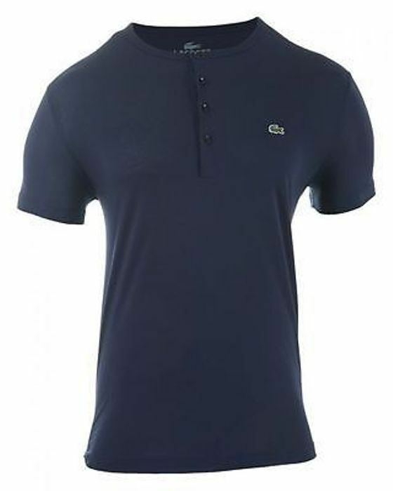 Lacoste Authentic Men's SS Pima Cotton Henley T-Shirt, Navy bluee, 3 XS, NWT