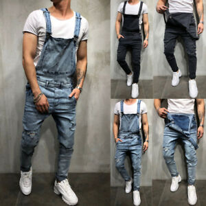 Hot-Sell-Men-039-s-Denim-Carpenter-Overalls-Bib-Jumpsuits-Moto-Biker-Jean-Pants