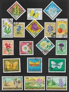MONGOLIA-mixed-collection-No-28-Flowers-Butterflies