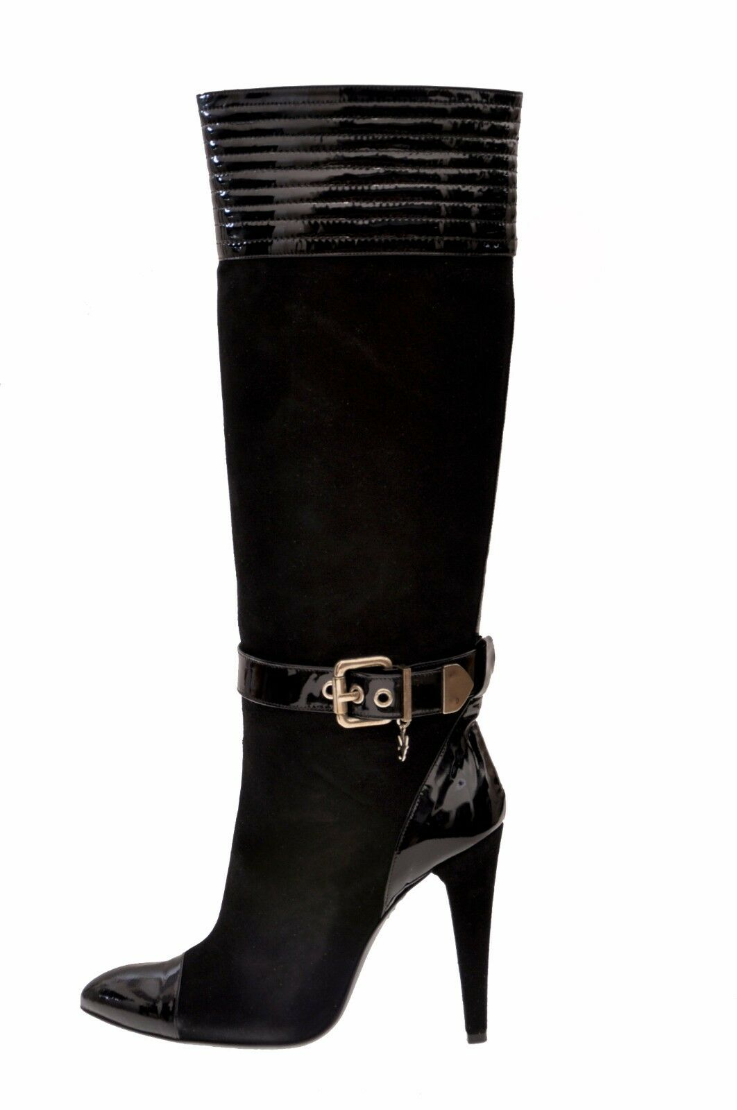 New VERSACE Black Suede and Patent Leather Boots 39 - 9