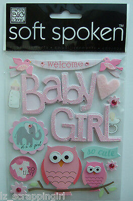 ~WELCOME BABY GIRL~ Soft Spoken Dimensional Embellishment Stickers; New Daughter