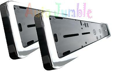 Audi S3 S4 TT Q5 Q7 RS 2X PLASTIC chrome number plate surrounds holder frames