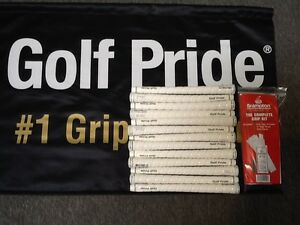 13-Golf-Pride-Tour-Wrap-2G-White-Standard-Grips-600-034-FREE-Regripping-Kit