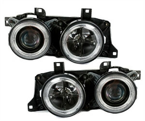 Angel-Eyes-Headlights-set-in-black-with-crosshair-for-BMW-5-Series-E34-7-Series