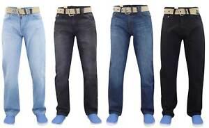 Mens-Jeans-Denim-Pierna-Recta-Basico-Calce-Regular-Pantalones-Pantalones-de-todos-los-tamanos-de-la