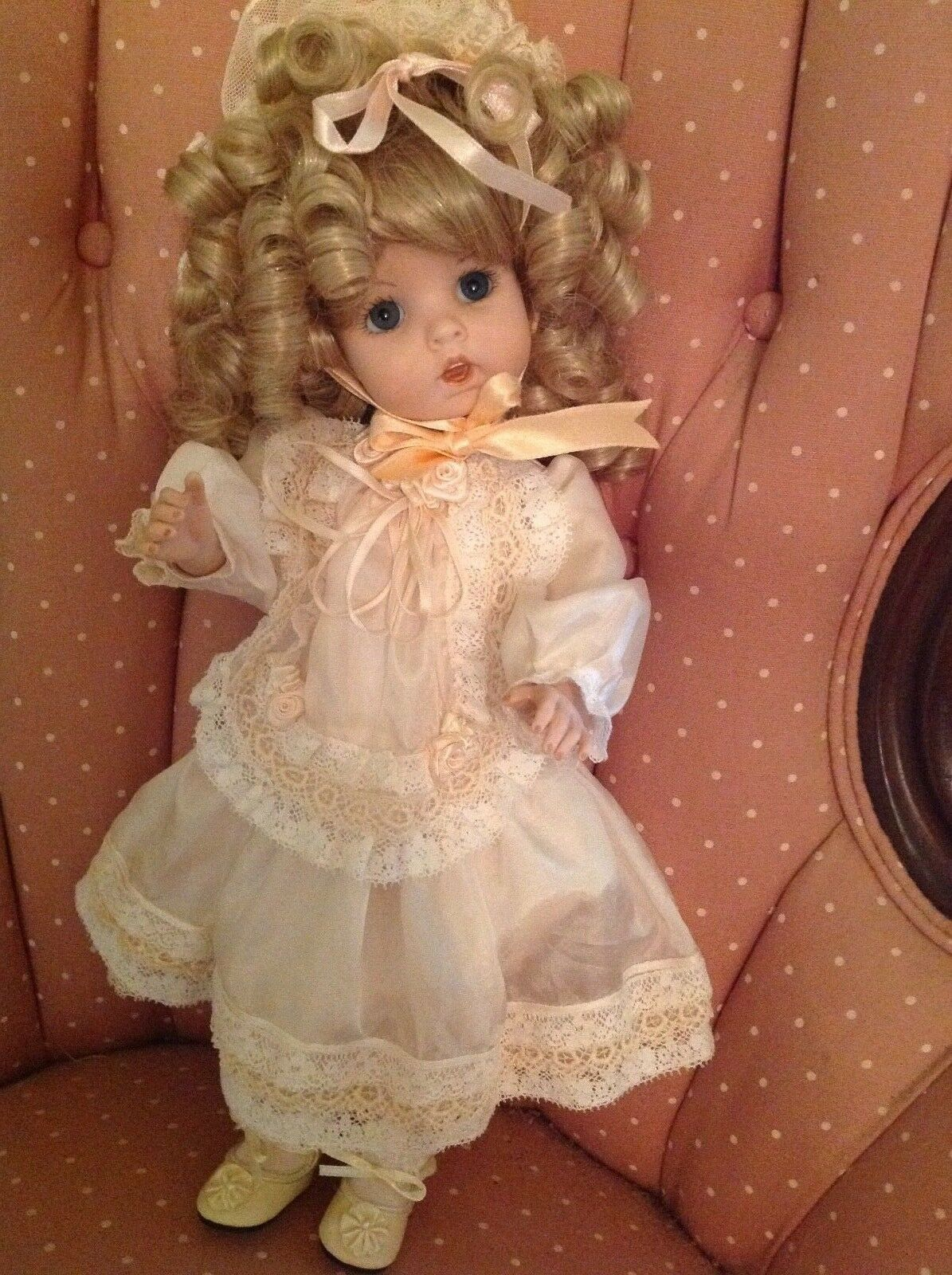 Vintage 1984 Chris Doll Porcelain/Bisque 14  Signed by Artist Carolyn May