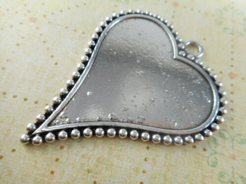 3 Silver Plated Dotted Heart Pendant Blank Trays Findings