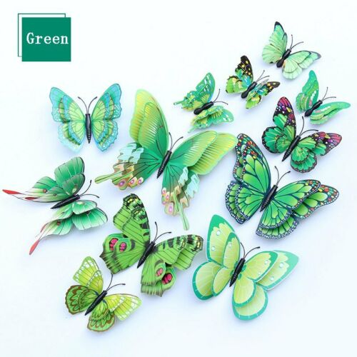 12PCS DIY 3D Butterfly Wall Stickers Home Decor Vinyl Art Mural Decal Removable