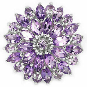 Ring-Purple-Amethyst-Genuine-Natural-Sterling-Silver-Cluster-Size-R-1-2-US-9