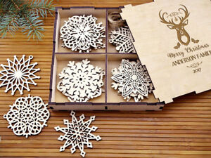 Details About Set Of 8 24x Wooden Christmas Tree Ornaments Personalized Gifts Wood Decorations