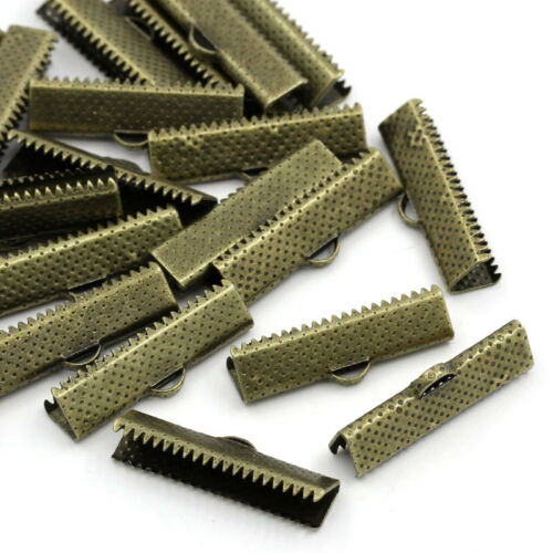 Lot 10 Embout Ruban Griffe Bronze 35mm x 8mm Griffe Metal a Ecraser Serre Ruban
