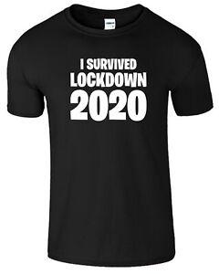 I Survived Lockdown 2020 T-Shirt Mens Kids Gift Tee Tshirt Social Distancing