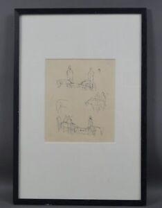 Alfred Lörcher (1875 - 1962) - Gruppe von Menschen und Tieren - Tuschezeichnung