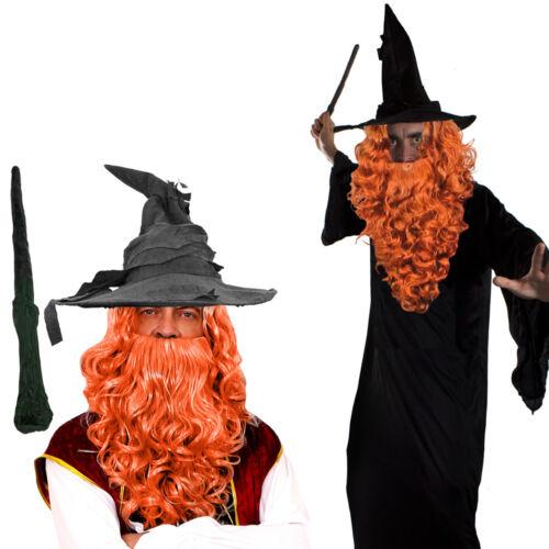 MAGO Mantello Con Ginger Parrucca e Barba Set Costume magico film PROF Costume