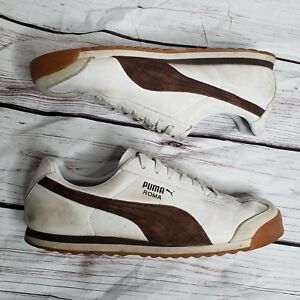 6ce244481a57 PUMA Roma Mens Shoes Sneakers SIze 11 White Brown Gum Soles Leather ...